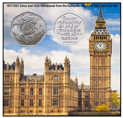 2020 Brexit 50p uncirculated Coin Set on display card &1973 50p circulated coin