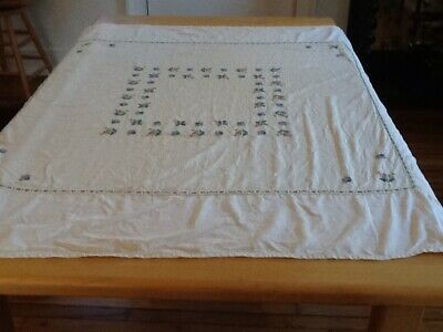 Vintage Colorful Pure Cotton Hand Worked Cross Stitch Tablecloth , 50 X 51""