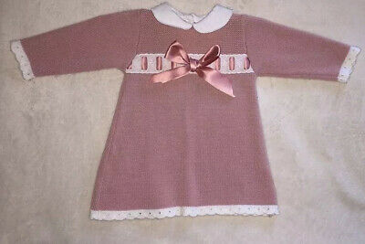 Baby Girls Pink Spanish Knitted Bow Dress