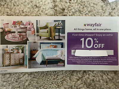 Wayfair 10% off ENTIRE purchase exp 2/29/2020, Valid on FIRST ORDER only