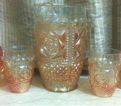 Rare Antique Rose Flower Carnival Glass Water Pitcher Set ( 1 Jug + 6 Tumblers )
