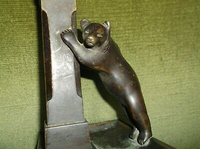 Fine & Rare Antique Solid Bronze Bear Candlestick (The Bear Forming The Handle)