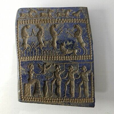Sassanian Very Old Lapis Lazuli Intaglio Carved Relief #322