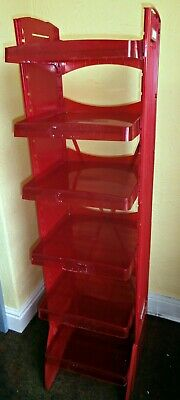Shop Shelving, Cheap Red Plastic Perpex Retail Display Stand. 6 Shelves, Cellar,