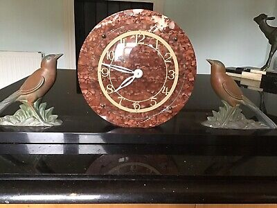ART DECO CLOCK. 1920s. 1930s. MARBLE AND SPELTER. FULLY WORKING.
