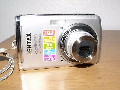 Pentax Optio E60 10.1MP Digital Camera + Case - Good Condition - Fully Working