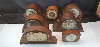 Job Lot of 7 Wood Cased Wind Up Mantel Clocks for spares and Repairs