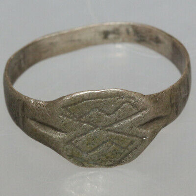 Byzantine Silver Seal Decorated Ring circa 1000-1300 AD