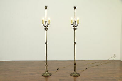 Pair of Brass Antique 2 Candle Floor Lamps, Viking Ship Finials  #32994