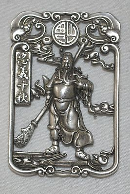 China Old Silvering Copper Pendant Hollow Necklace Hero Guan Yu Statue Amulet 2
