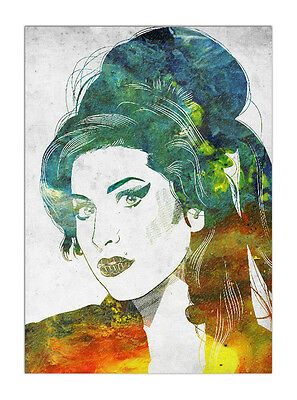"""Amy Winehouse wall art printed on canvas 22/'/' X 16/"""" solid frame"""