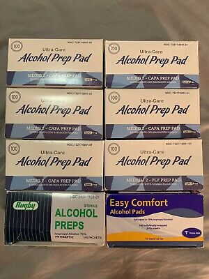 100-Cts (8) ALCOHOL PREP PADS (isopropyl alcohol) SWABS WIPES NEW