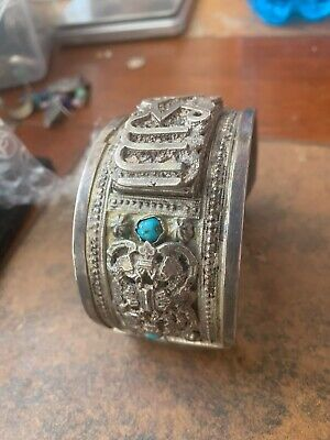 Vintage Art Deco Egyptian Revival Sterling .925 Carved cuff bracelet Turquoise