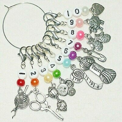 10 Number Colourful Row Counter Crochet Knitting Clip Charm Stitch Markers Gift