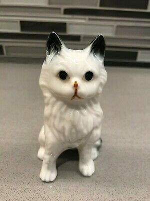 Vintage Enesco Gray, Black and White Cat Figurine - Porcelain Hand Painted