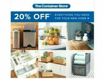Container Store 20% Off Purchase in store or online Coupon Expires 2/26/2020