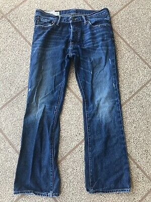 Abercrombie Fitch Baxter Low Rise Dark Wash Slim Boot Mens Jeans 32 x 30