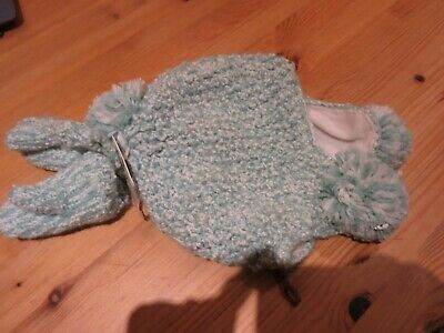 Next girls lined pom pom hat & mitts set pale green & sparkly BNWT 3 - 4 years