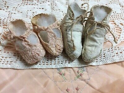 Antique Primitive  Leather white and crochet pink Baby or Doll  bootie Shoes