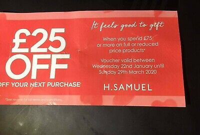 H Samuel Discount Coupon Voucher up to 40% disc £25 Off on £75 or more til 29/03