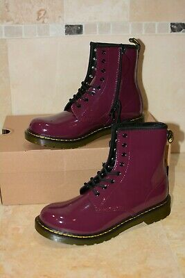 Dr. Martens 1460 Y patent leather boots size 5UK plum youth