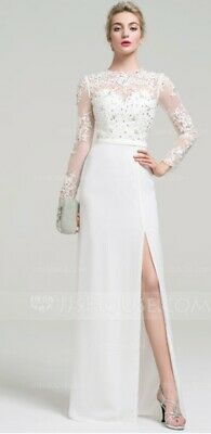 White Floor-Length Evening Dress With Beading Sequins