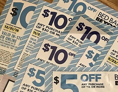 14 Bed Bath & Beyond BBB Coupons $115 VALUE - Expired - $10 off $30 / $5 off $15