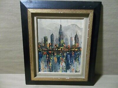 Mid Century Modern  Style Cityscape Expressionist Abstract Painting Signed Max