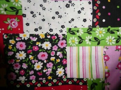 """Vtg Multi-color Cheater Quilt FabricFlower Patch by M'Liss  44""""W x 45.5"""" Long"""