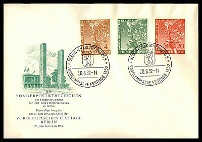 Mayfairstamps Germany 1952 Berlin Olympics Set First Day Cover wwd54807