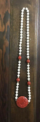 """Vintage Antique Chinese Carved Cinnabar And  Jade Bead 16"""" Necklace"""