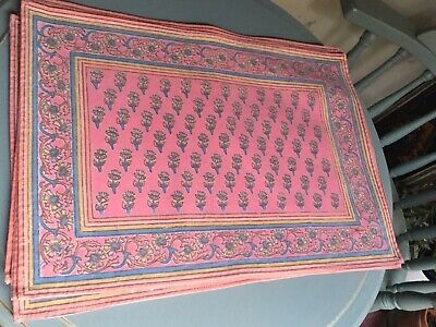 100% Cotton Dusty Rose~Blue Placemats Set 6 Floral Border Pattern Silk Screen