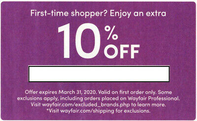 Wayfair 10 off coupon for first time buyers expires on 3/31/2020