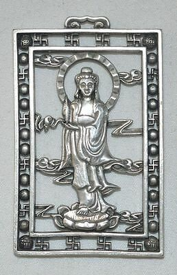 China Old Silvering Copper Pendant Hollow Kwan-yin Statue Amulet Necklace Gift 3