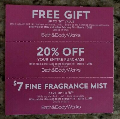 Bath and Body Works 3 coupons 20% Gift $8.50 off candles soap lotion shower gel