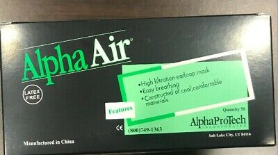 50 x Alpha Air Face Mask BL-5005 Virus Earlobe Medical Surgical High Filtration