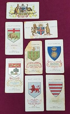 Wills Cigarette Cards Lot Of 8 No Doubles Arms Of The British Empire S12