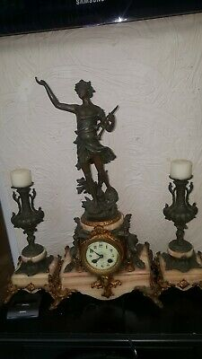 Antique French mantel Clock Beautiful   8 Day Garniture Set