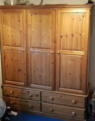 Antique Pine Triple Wardrobe With 4 Drawers