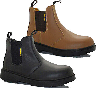 Mens Leather Chelsea Safety Boots Lightweight Dealer Steel Toe Cap Work Boots Sz