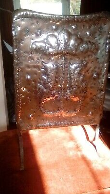 Arts & Crafts/Art Nouveau Copper-Plated (On Tin?)  Fire Screen Antique