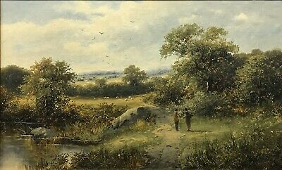 19th Century antique Victorian oil painting canvas Landscape Signed