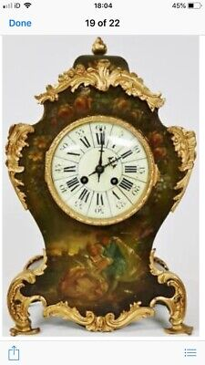 Antique 8 Days French mantel clock 99p Start Vintage Clock With Key