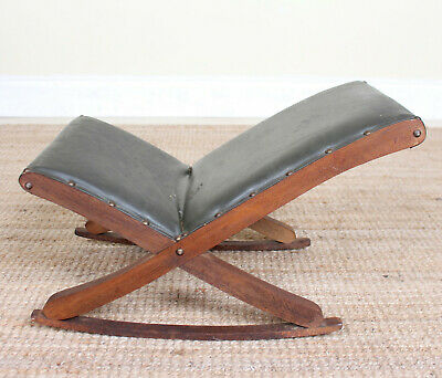 Antique Vintage Mahogany Gout Stool Footstool