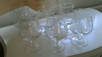 Set Of 6 Small Crystal Liquor Glasses/Brandy Glasses Etch Engraved