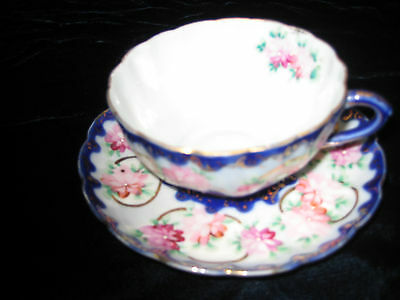 Vintage China Cup And Saucer -Blue Green & Pink Flowers