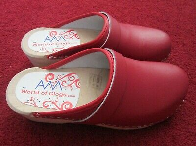 Brand New World Of Clogs Wooden Am Toffeln Classic In Red U.k 5 E.u 38