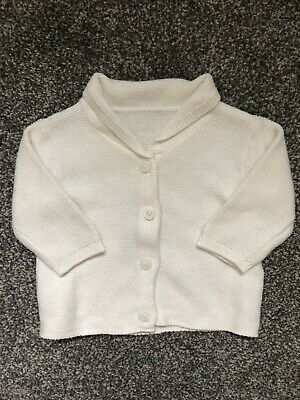 M&S Baby Girl Off White Collared Cardigan 0-1 Month