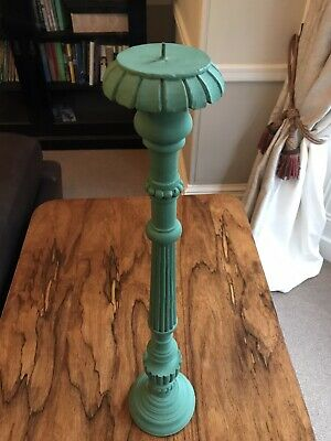 Large Antique Carved Oak (Painted) Candlestick
