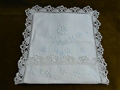 "Vintage, Hand Embroidered Fine Linen Handkerchief Case. 11 X 11"" Closed."